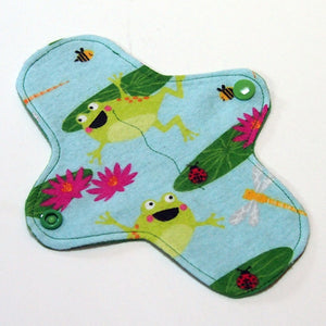 7 inch Reusable Cloth winged ULTRATHIN Pantyliner - Leap Frog Cotton Flannel Fabric