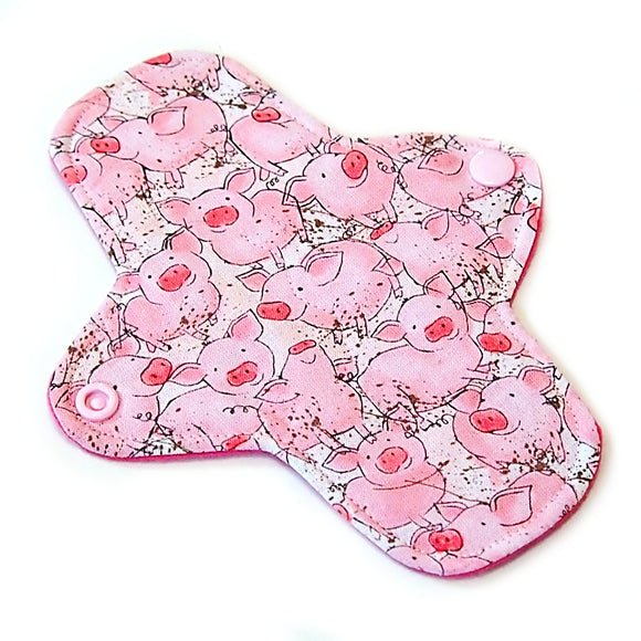 7 inch Reusable Cloth winged ULTRATHIN Pantyliner - Piggies Quilter's Cotton Top