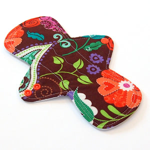 "9"" Moderate Flow Cloth Menstrual Pad -  PUL  - Quilter's Cotton - Brown Floral"
