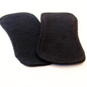 Reusable Cloth ULTRATHIN lay-in wingless pantyliners - Set of 2 solid BLACK cotton flannel
