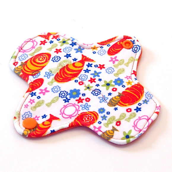 6 inch Reusable Cloth winged ULTRATHIN Pantyliner - Koi Fish Cotton Knit Fabric
