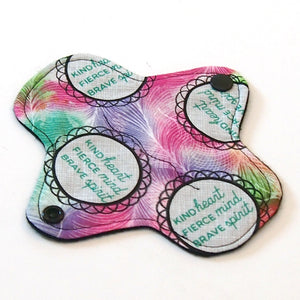 6 inch Reusable Cloth winged ULTRATHIN Pantyliner - Kind Fierce Brave Woven Cotton