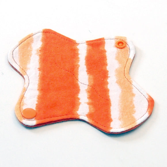 6 inch Reusable Cloth winged ULTRATHIN Pantyliner - Cotton Flannel Fabric - Orange Stripes