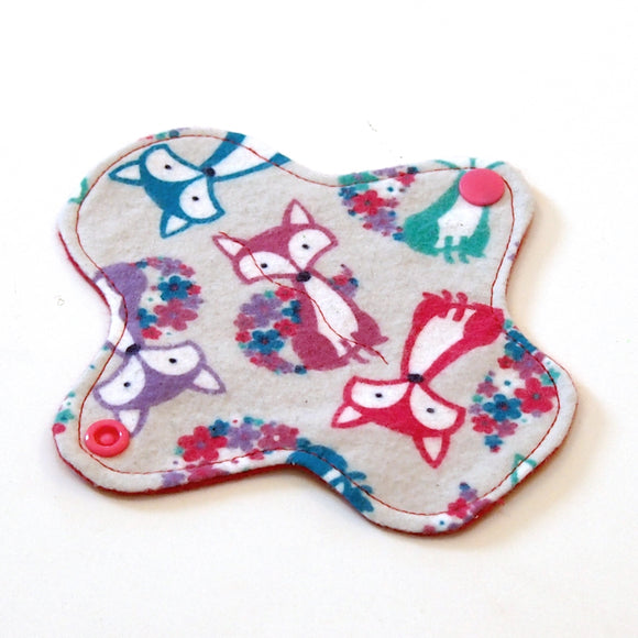 6 inch Reusable Cloth winged ULTRATHIN Pantyliner - Cotton Flannel Fabric - Grey Fox
