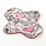 6 inch Reusable Cloth winged ULTRATHIN Pantyliner - Cotton Flannel Fabric - Sleepy Cats