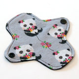 6 inch Reusable Cloth winged ULTRATHIN Pantyliner - Cotton Flannel Fabric - Floral Panda
