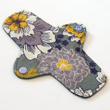 8 inch Reusable Cloth winged ULTRATHIN Pantyliner - Lavender Floral Quilter's Cotton Top