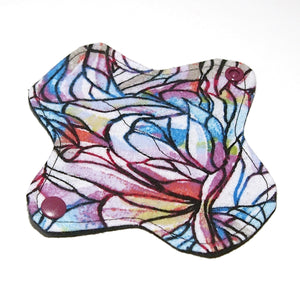 6 inch Reusable Cloth winged ULTRATHIN Pantyliner - Cotton Flannel Fabric - Stained Glass