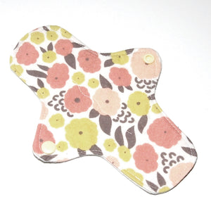 All Organic 8 inch Reusable Cloth winged ULTRATHIN Pantyliner - Cottonflower Pink Organic Cotton Flannel