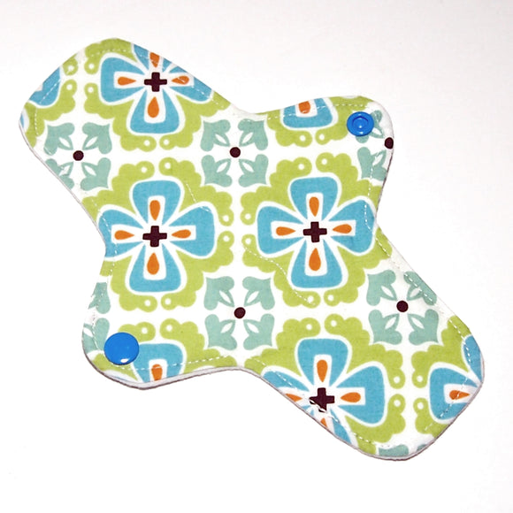All Organic 8 inch Reusable Cloth winged ULTRATHIN Pantyliner - Teal Flowerbed Organic Quilter's Cotton Top