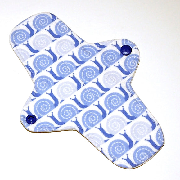 All Organic 8 inch Reusable Cloth winged ULTRATHIN Pantyliner - Snails Organic Cotton Flannel