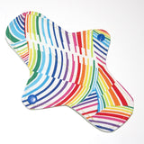 8 inch Reusable Cloth winged ULTRATHIN Pantyliner - Rainbow Waves Quilter's Cotton Top