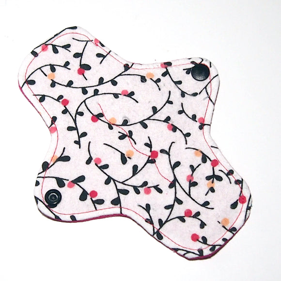 7 inch Reusable Cloth winged ULTRATHIN Pantyliner - Budding Vines flannel top