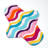 7 inch Reusable Cloth winged ULTRATHIN Pantyliner - Bright Stripes flannel top