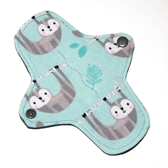 7 inch Reusable Cloth winged ULTRATHIN Pantyliner - Sloth flannel top