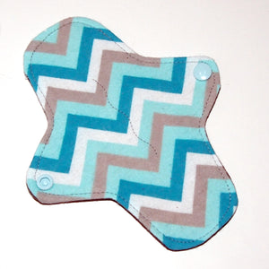 7 inch Reusable Cloth winged ULTRATHIN Pantyliner - Turquoise Chevron flannel top
