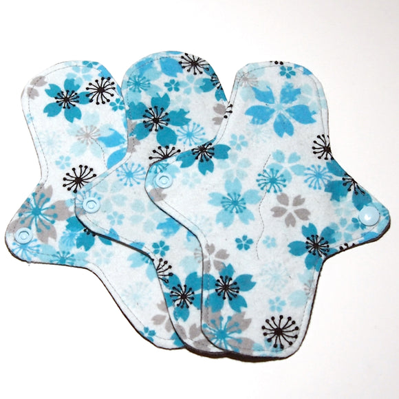 SET OF 3 - 8 inch Reusable Cloth winged ULTRATHIN Pantyliner - Turquoise Mums Cotton Flannel