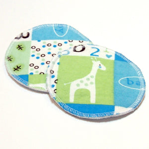 "4.5"" Reusable Cloth Nursing Pad Set in Bamboo/Organic Cotton with heavy fleece in Cotton Flannel - Baby Boy Quilt"