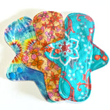 MADE TO ORDER - Reusable Cloth Menstrual pads- set of three 8 inch pads - choose your fabric and absorbency