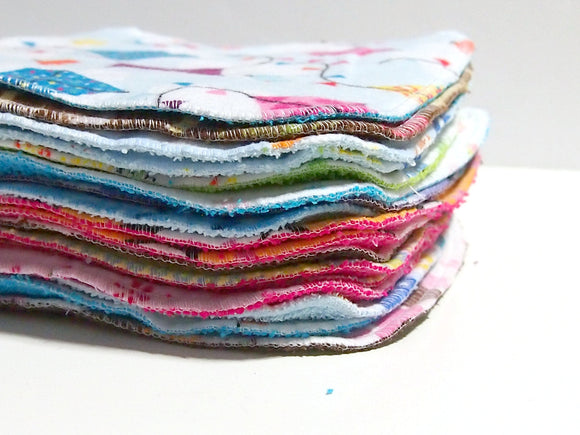 Cloth Wipes Grab Bag - 8 by 8 inch Serged Cloth Wipes/Washcloths -  Flannel/Baby Terry- set of 10 randomly chosen wipes