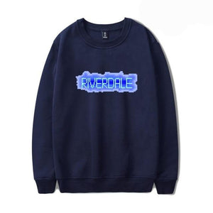 Riverdale Womens Riverdale Blue Text Navy Blue Sweatshirt