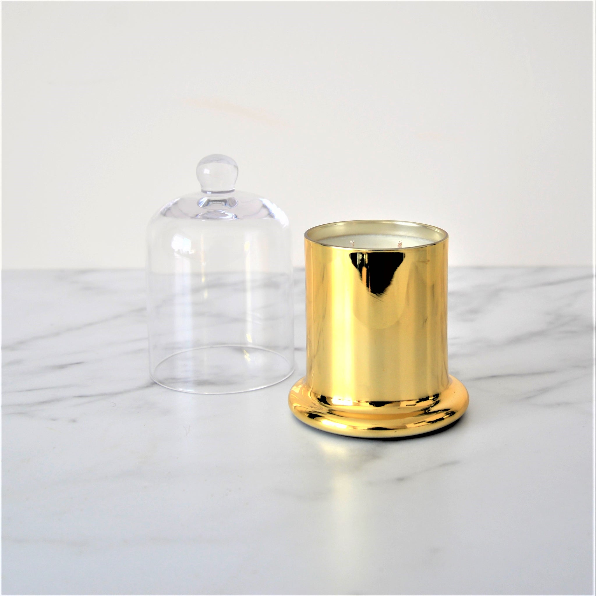 Soy/Coconut Wax Blend in Gold Jar with Glass Cloche