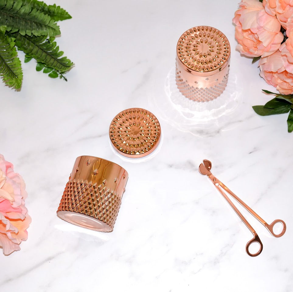 LUXE Coconut Wax Blend Candle in Decorative Rose Gold Studded Jar