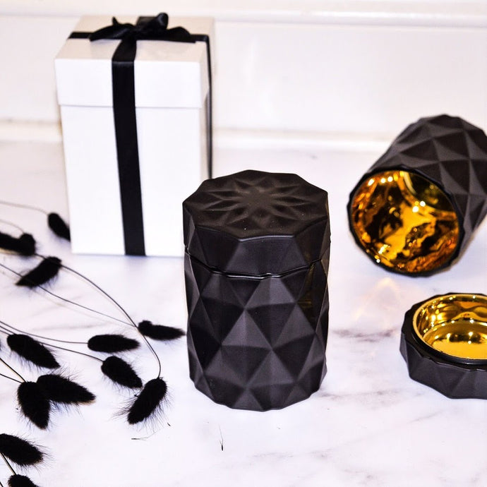 LUXE Coconut Wax Blend Candle in Decorative Matte Black Jar