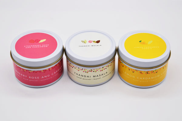 Scrumptious Wicks x Milk and Cardamom Soy Candle Trio