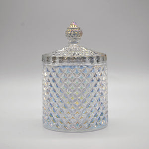 """Ziva"" - Glass Jar with Geometric Detailing"