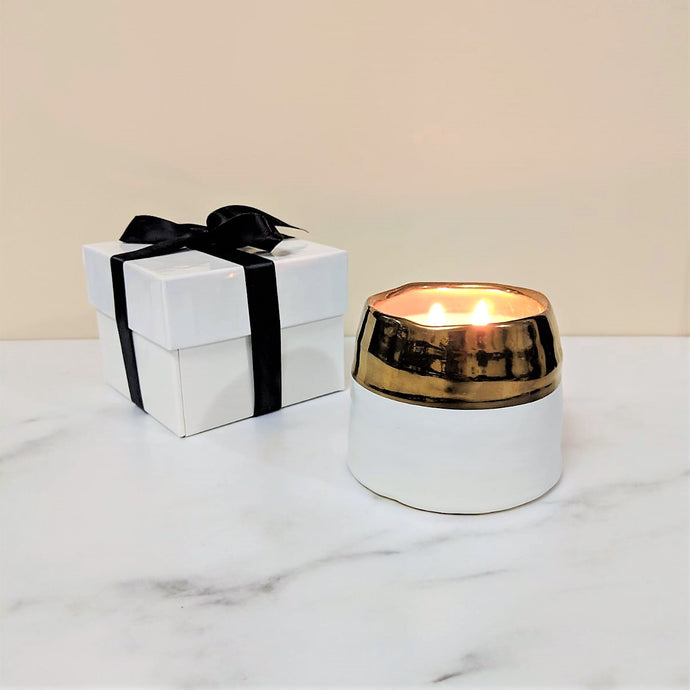 LUXE Coconut Wax Blend Candle in White & Gold Ceramic Jar