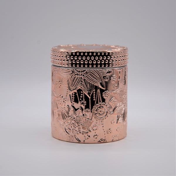 """Keya"" - Rose Gold Jar with Floral Detailing"