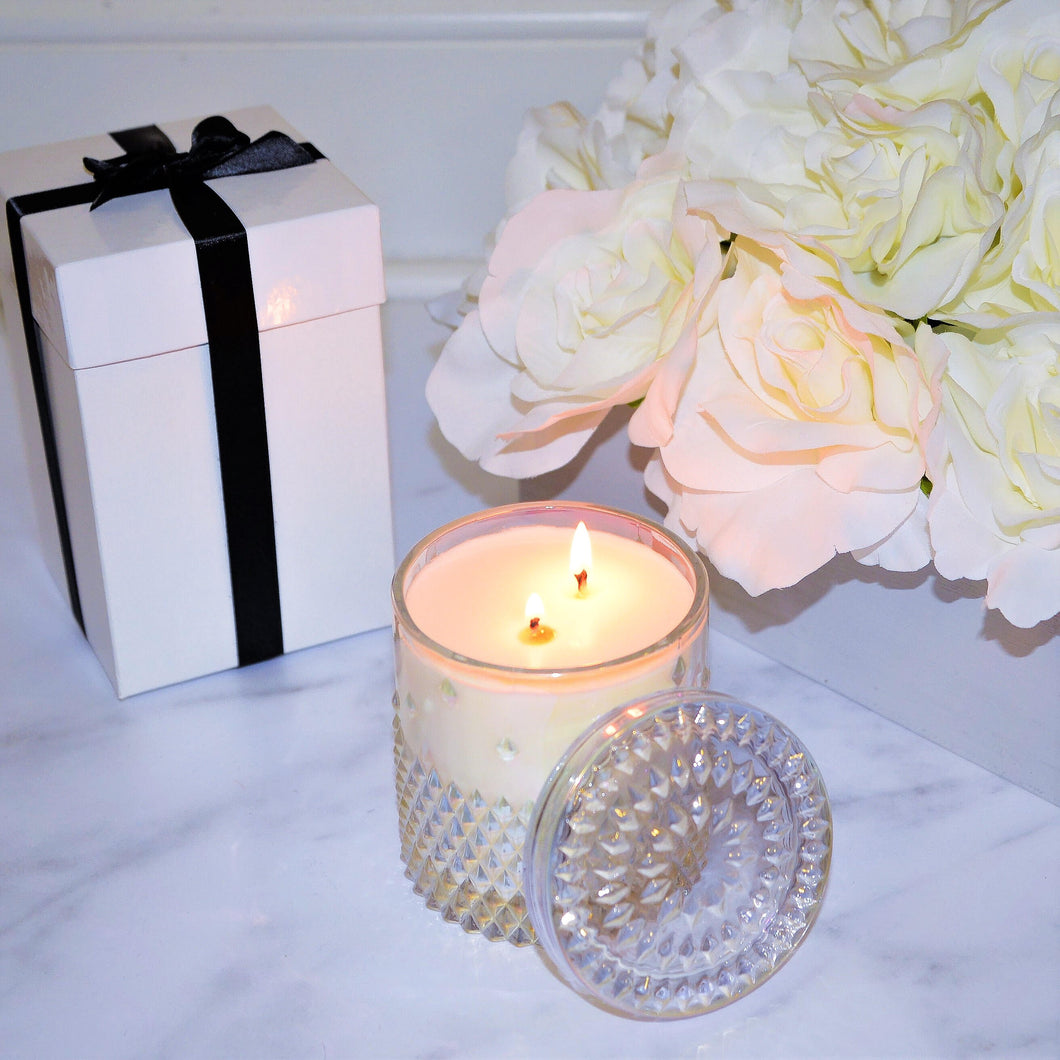 LUXE Coconut Wax Blend Candle in Iridescent Studded Jar