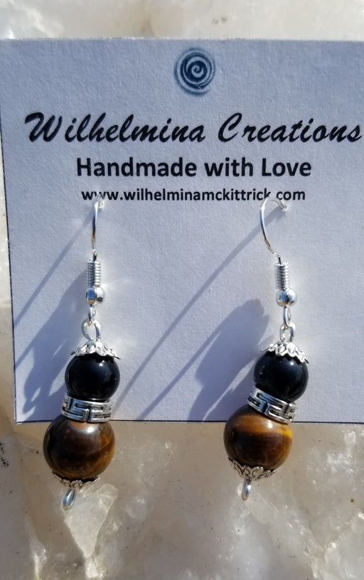 Tiger eye, black obsidian Earrings