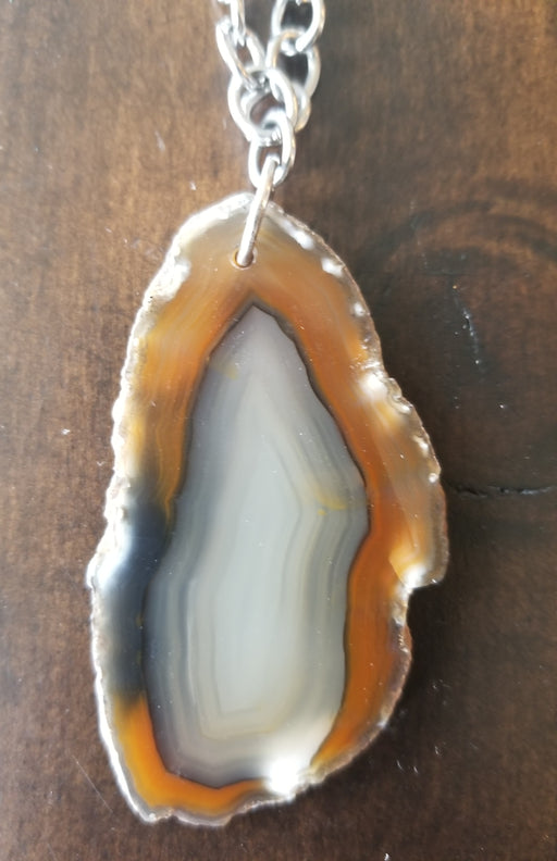 Agate slice Pendant Stainless steel necklace
