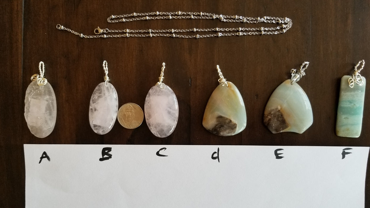 Various Semi- Gem Pendants