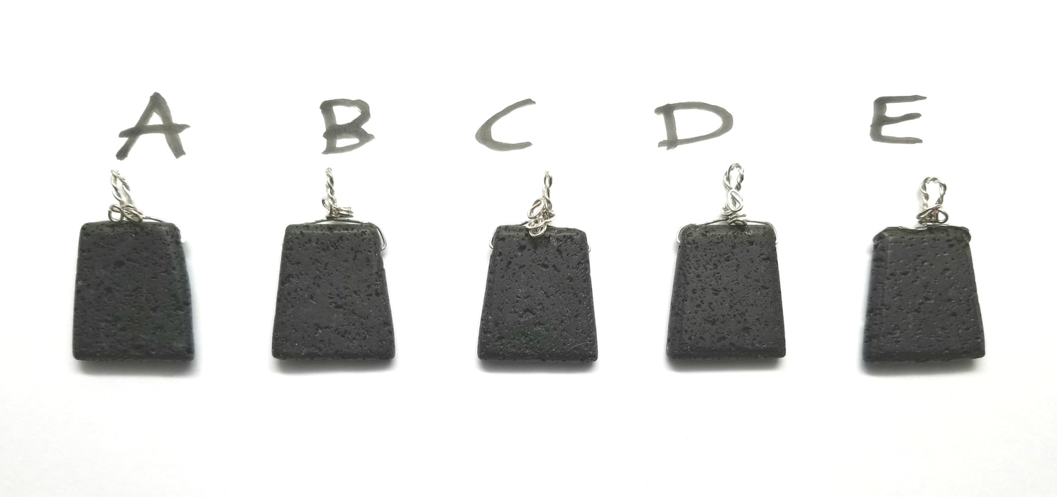Black Lava Stone Pendants - handmade by Wilhelmina