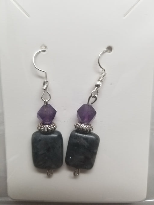 Larvikite & blue kyanite Earrings by Wilhelmina Creations
