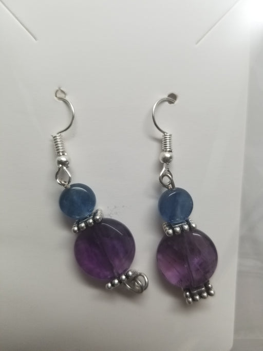 Amethyst & blue kyanite Earrings by Wilhelmina Creations