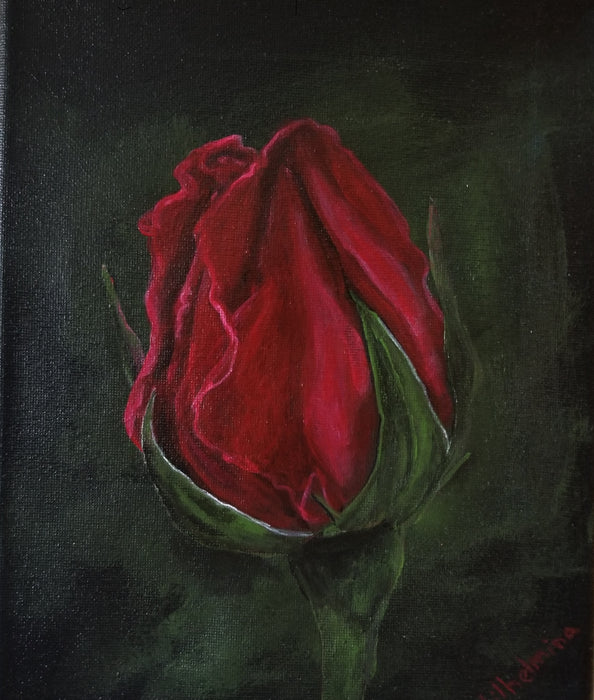 Love Rose, original acrylic painting by Wilhelmina