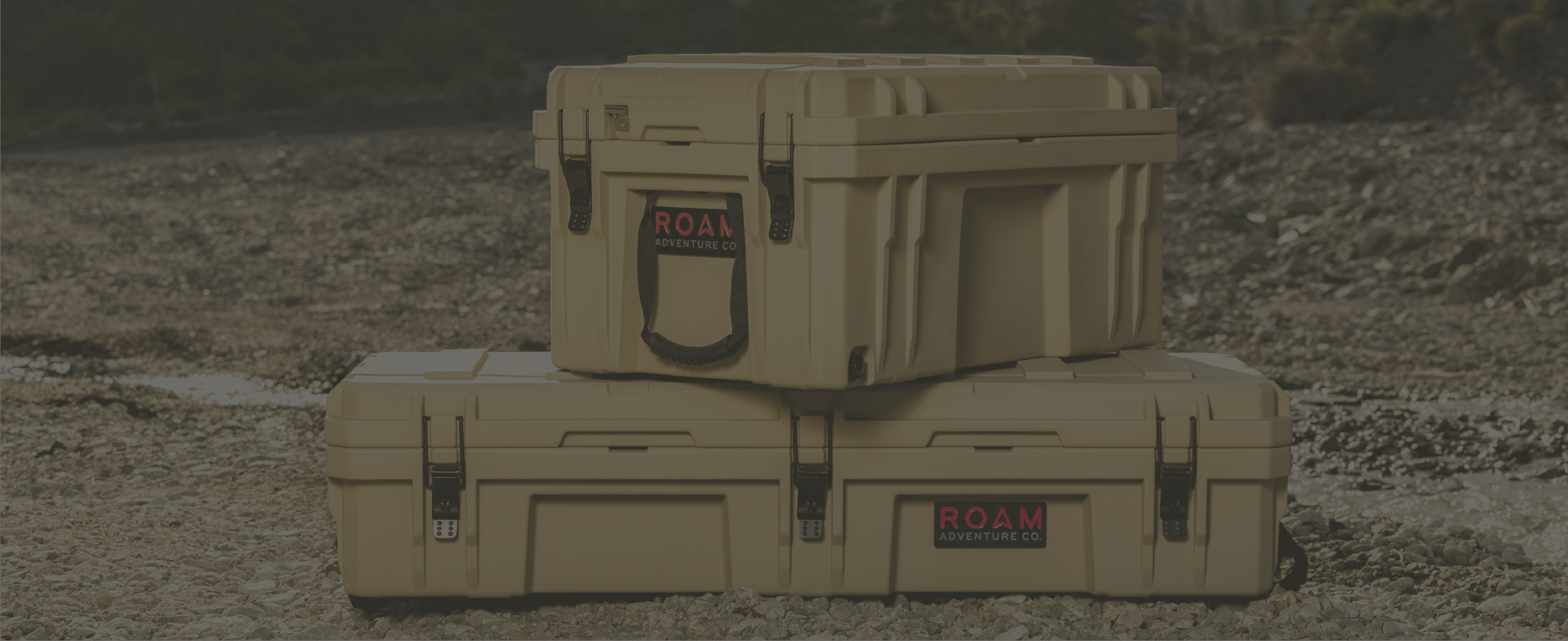 Rugged Cases in desert tan color, durable storage boxes for camp gear and tools