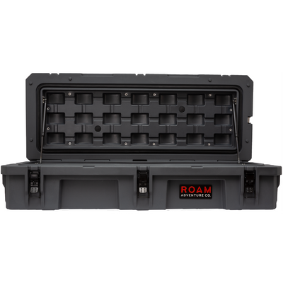 ROAM 95L Rugged Case — large low-profile durable storage box shown with open lid
