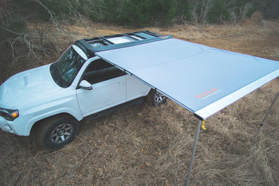 Wide rooftop awning shown on a Toyota 4Runner