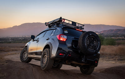 Rooftop awning attached to roof rails of a Subaru Crosstrek
