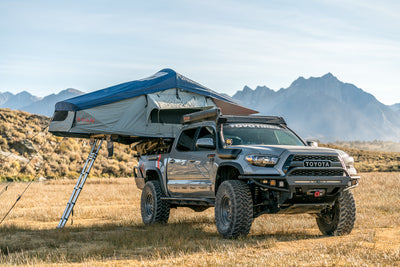 Vagabond Rooftop Tent in Slate Grey Navy Blue shown on Toyota Tacoma