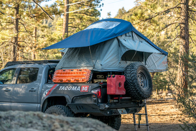 Vagabond Rooftop Tent in Slate Grey Navy Blue on a Toyota Tacoma