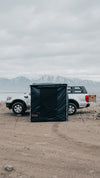 Black Rooftop Awning Room attached to a Ford Ranger truck