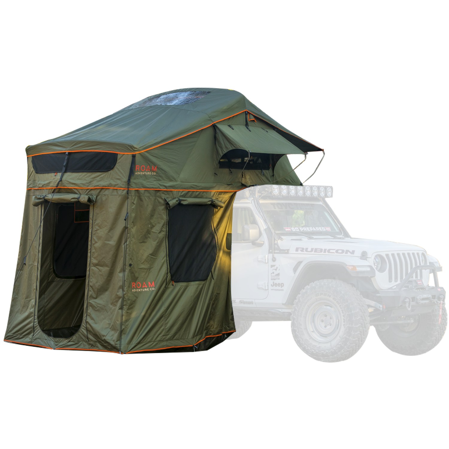 Vagabond XL Rooftop Tent with Annex Room shown on a Jeep Rubicon