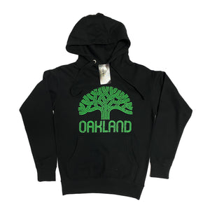 Men's Green Oakland Tree Hooded Pullover