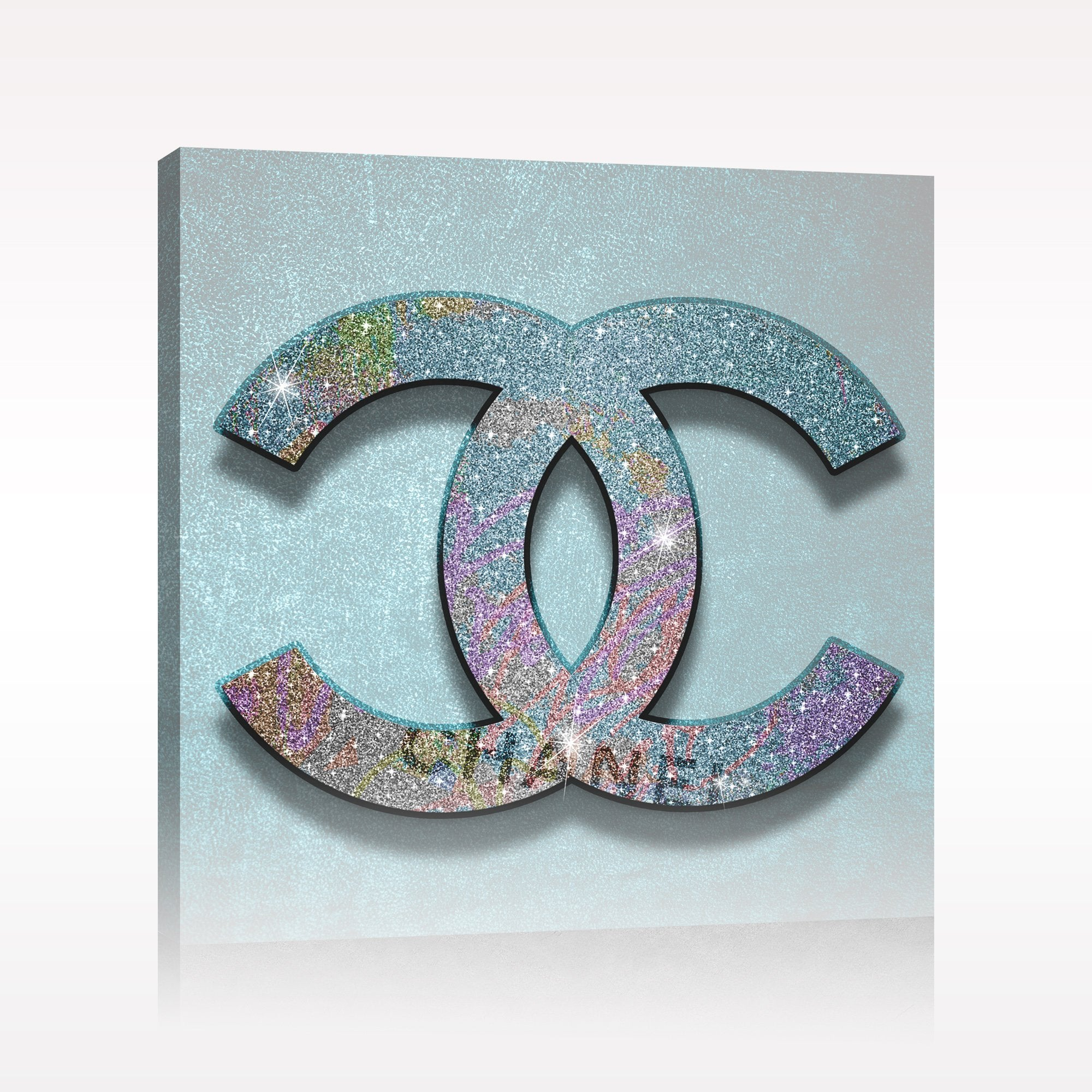 Chanel Blue Confetti Canvas Print Chanel Art Pop Art Modern Art Fashion Art